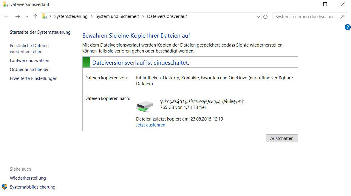 Datensicherung unter Windows 10 – der Dateiversionsverlauf