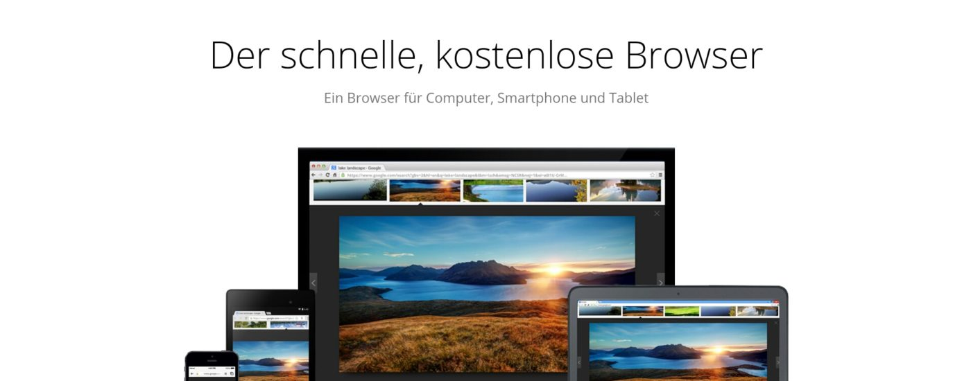 Chrome-Download-Seite im Screenshot