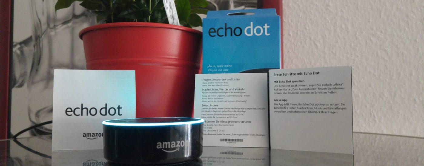 Ein Foto von der Verpackung von Amazons Echo Dot und dem Echo Dot selbst.