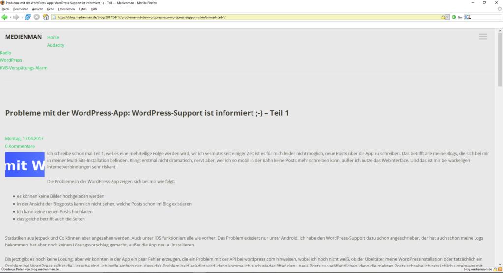 Ein Artikel aus diesem Blog im Firefox Version 1. Immerhin noch lesbar, aber vom Aufbau her leider schon etwas durcheinander.