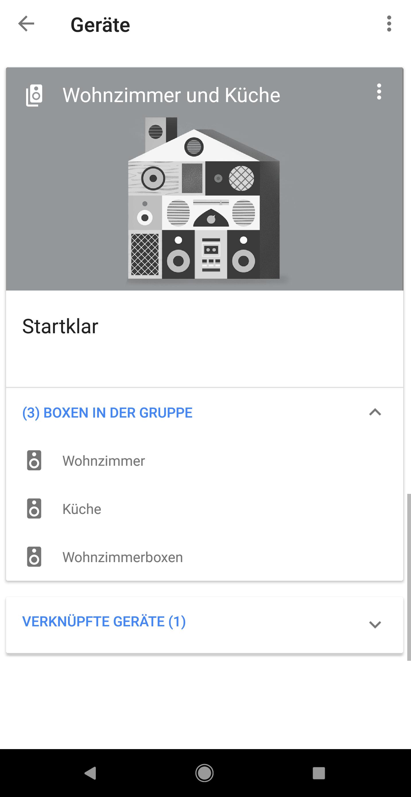 Google Home. Fertig eingerichtete Gruppe in der Übersicht