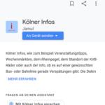 [Köln] Veranstaltungen, KVB Verspätungen, Rheinpegel, KVB Radsuche und Fakten über Telegram und Google Assistant