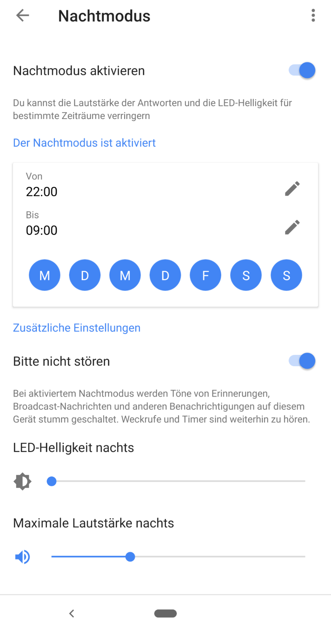 """Nachtmodus"" in Google Home"
