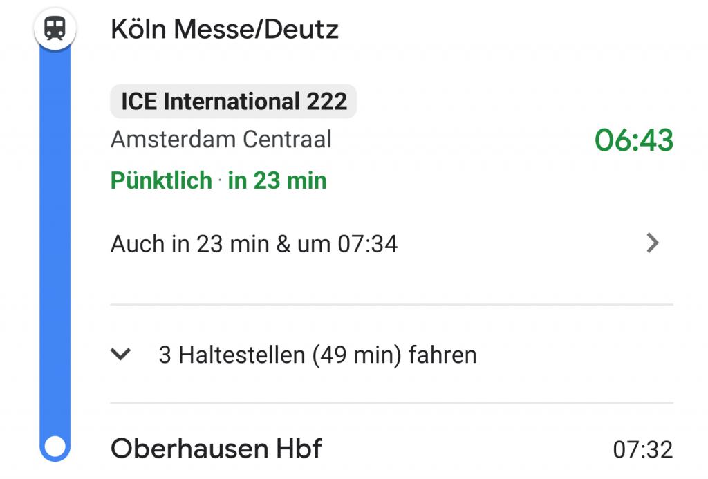Echtzeitanzeige der Zugverbindungen in Google Maps