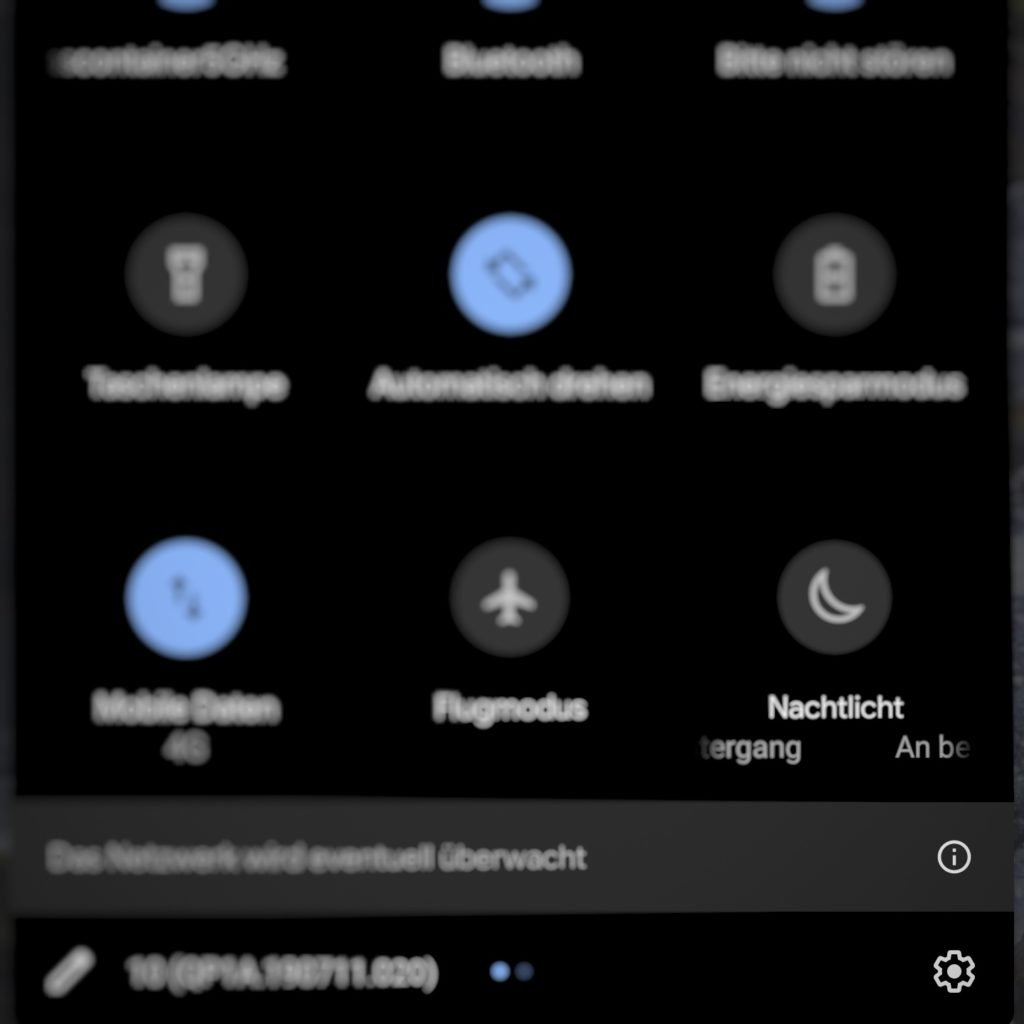 Einstellungs-Button unter Android 10