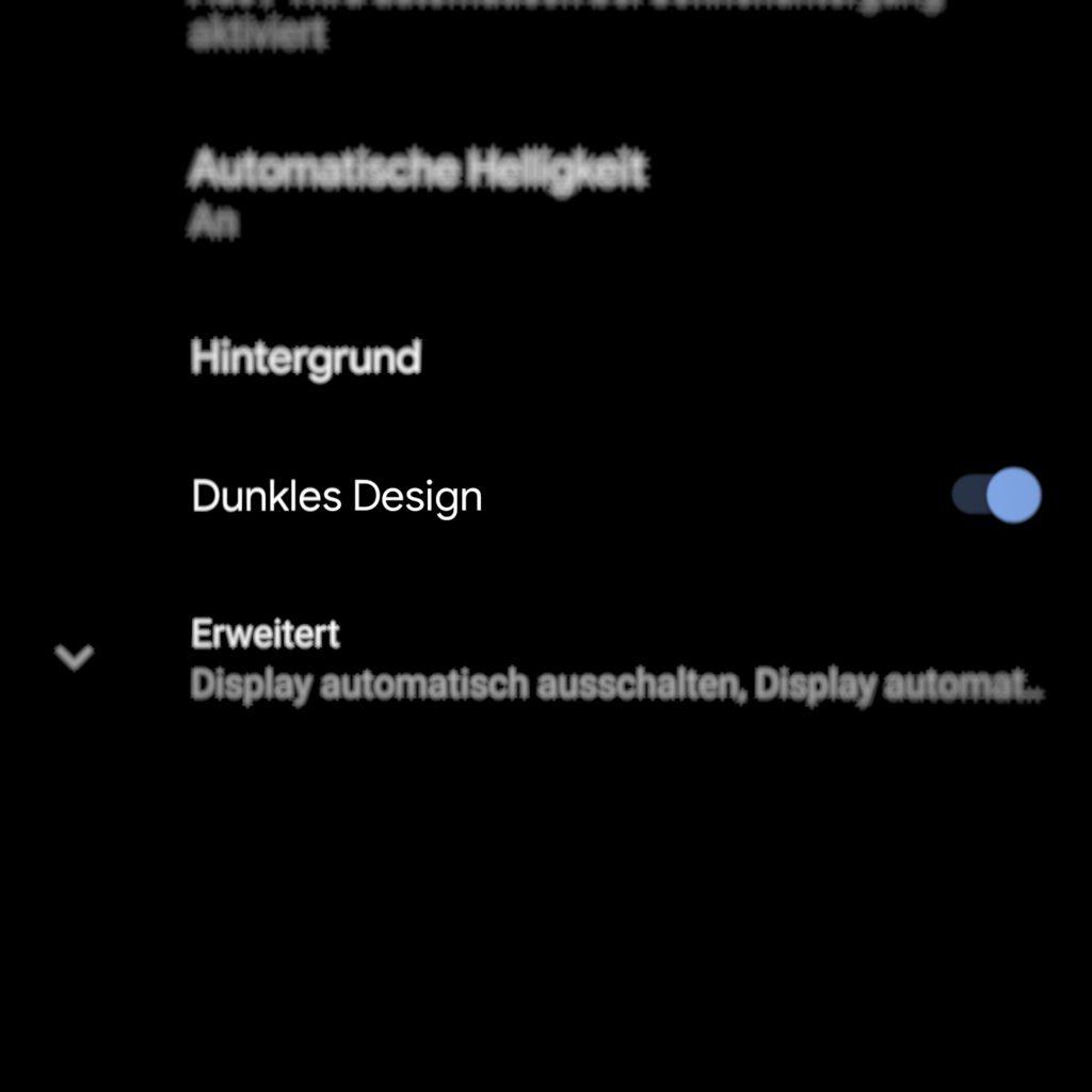 Android 10: Dark Mode unter Display aktivieren