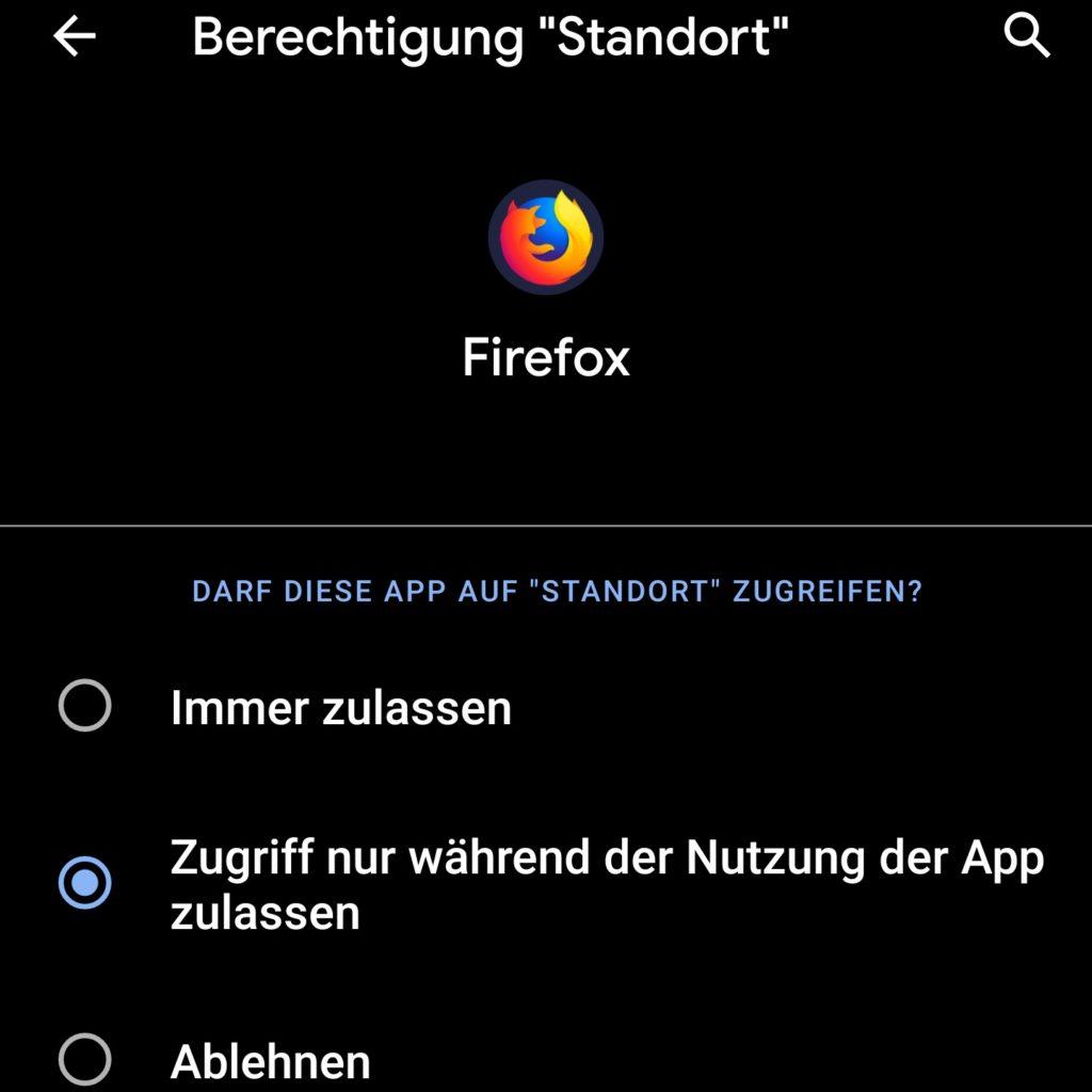Android 10: Ändern der Einstellungen für den Standort für eine App