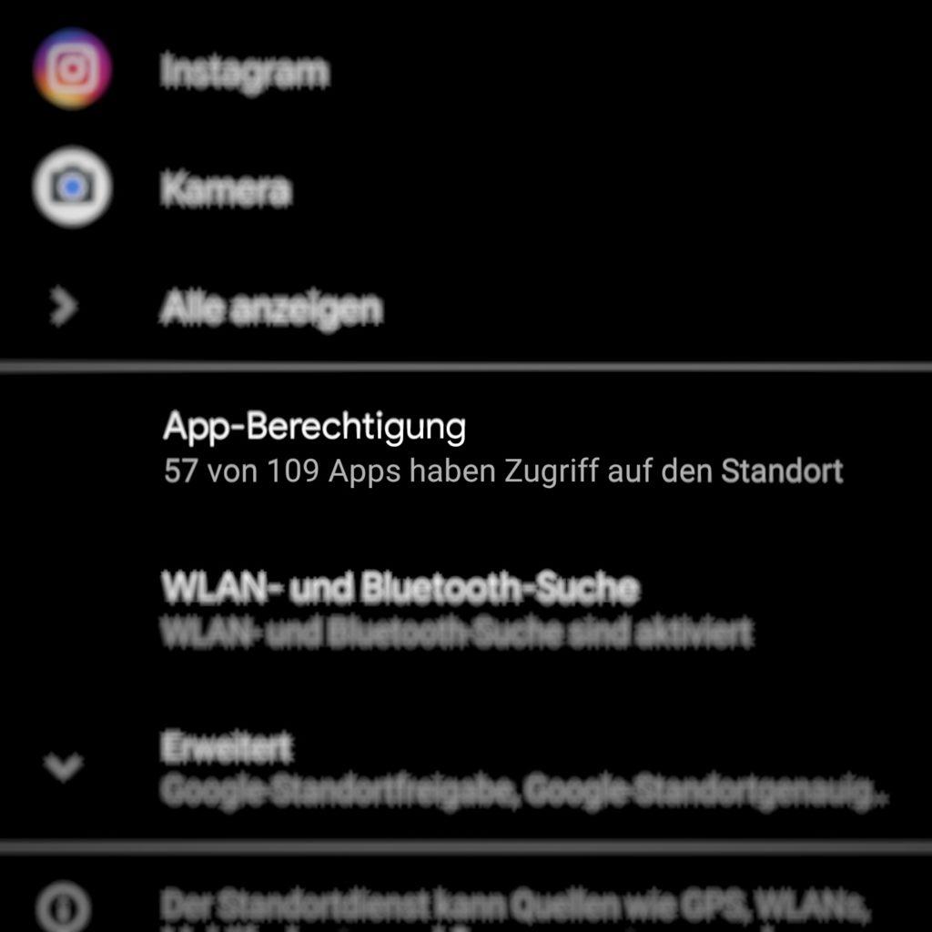 Standortsübersicht für alle Apps