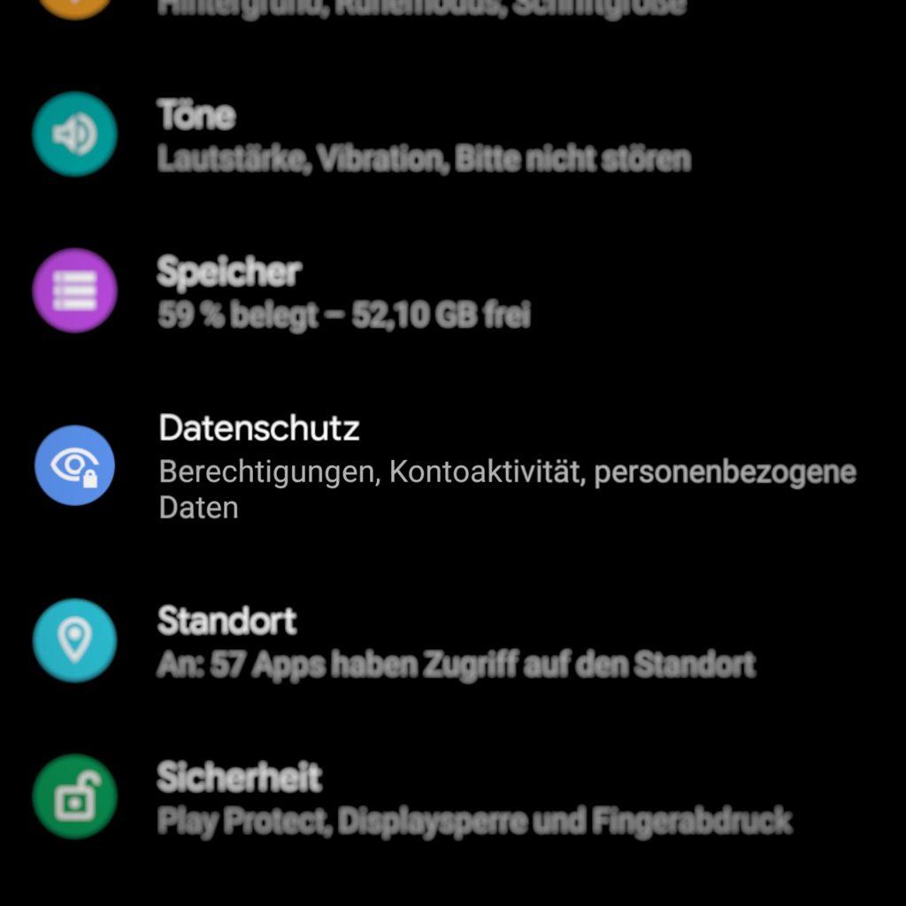 """Android 10: Die Einstellung """"Datenschutz""""."""