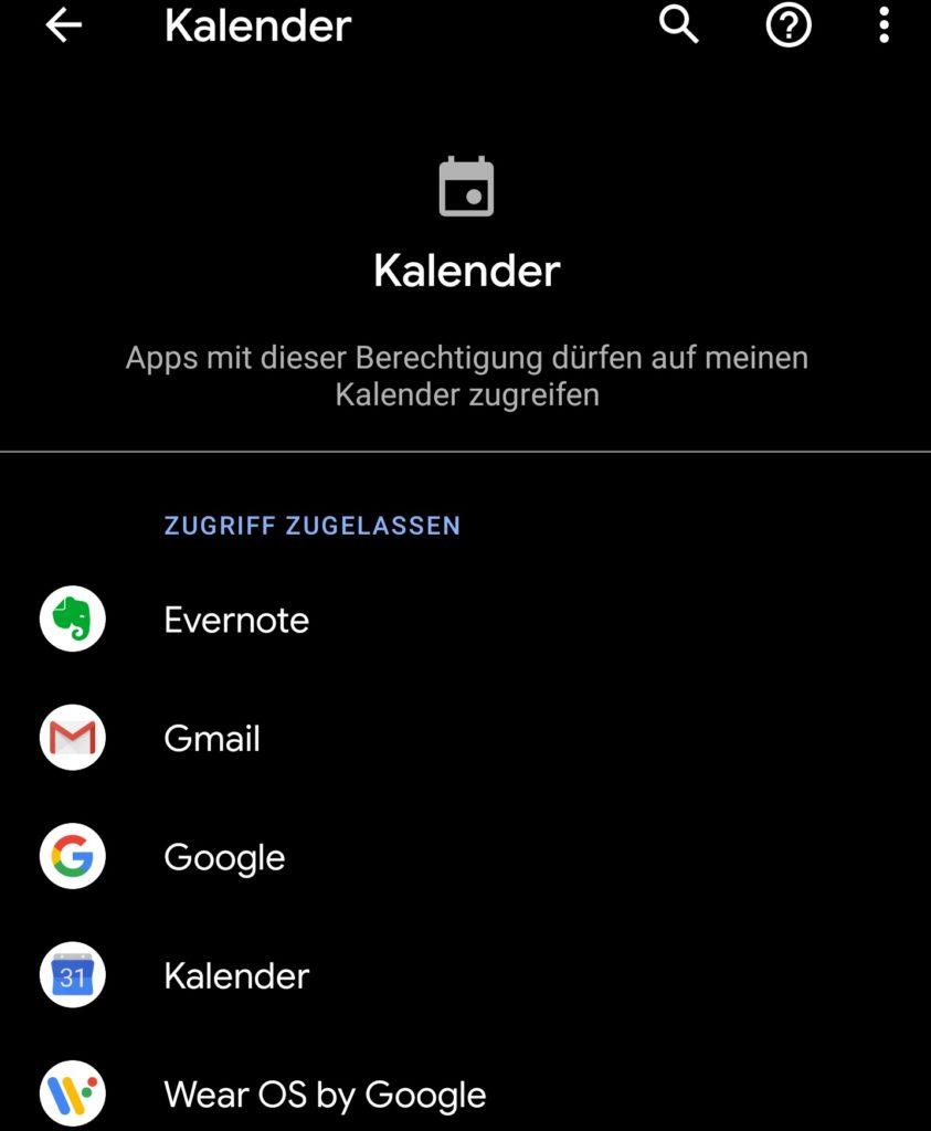 Android 10: EIne Beispielansicht für die Auflistung von Apps in den Berechtigungen. Hier für den Kalender.