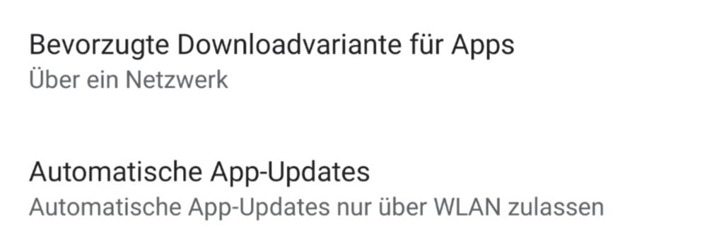 Einstellungen für AppUpdates im Play Store