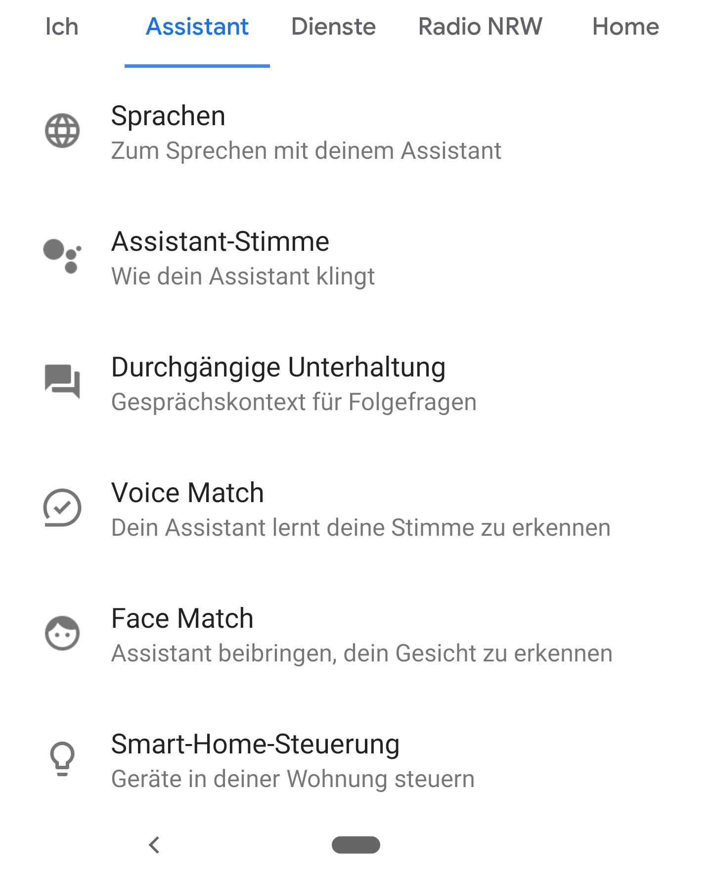 Die Assistant Stimme ist die zweite Option in den Einstellungen zum Assistant.