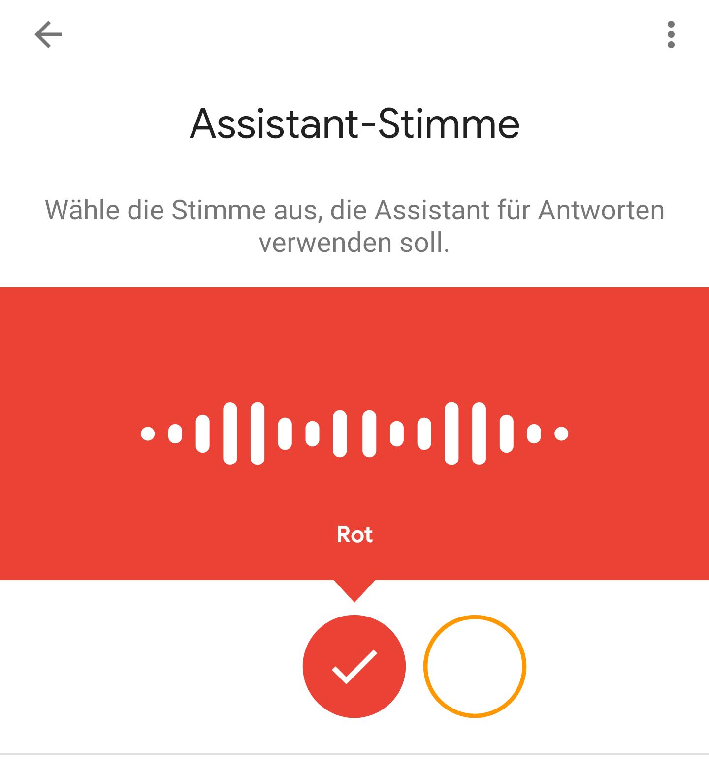 Stimmauswahl im Google-Assistant.